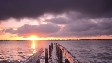 Cleveland pier in the late afternoon. Brisbane, Queensland