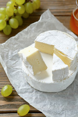 Tasty slices of camembert cheese