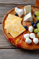 Pieces of cheese on a plate