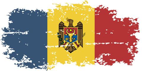Moldova grunge flag. Vector illustration.