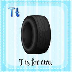 A letter T for tire