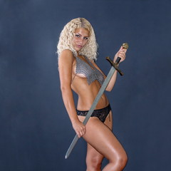 Woman with a sword.