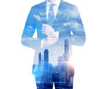 Double exposure of businessman and city - Fine Art prints