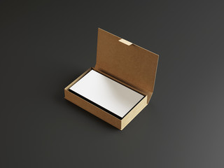 White business cards in the cardboarding box