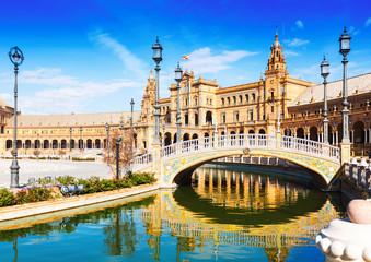 Day sunny view of Plaza de Espana with bridge