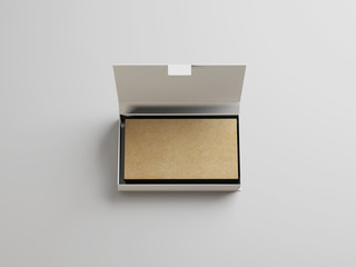 Craft business cards in the box on light background