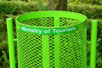 Mauritius, trash can in a public park