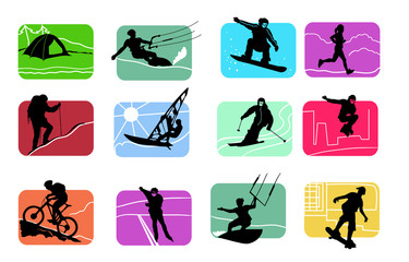 colorful icons of active sport figures
