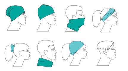 set of profile faces with different hats