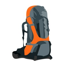 Realistic illustration of tourism backpack
