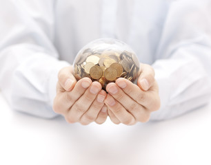 Crystal ball with money in hands
