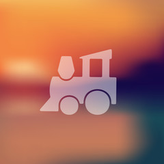childrens train icon on blurred background