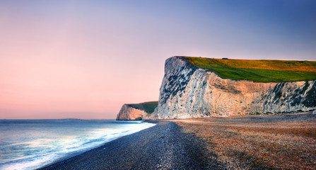 Durdle Door Coastline Sunset Sea Scenic Nature Concept
