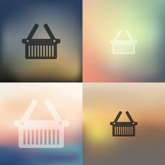 basket icon on blurred background