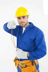 Confident repairman holding cables