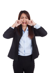 Young Asian businesswoman crying  a lot