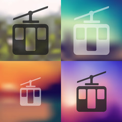 funicular icon on blurred background