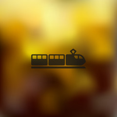 train icon on blurred background