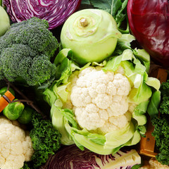 Healthy background of cruciferous vegetables