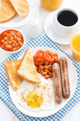 traditional English breakfast with sausages, top view