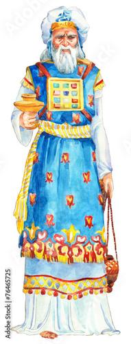 """Leinwandbild Motiv Watercolor sketch of series """"Characters of Palestine"""". Priest"""