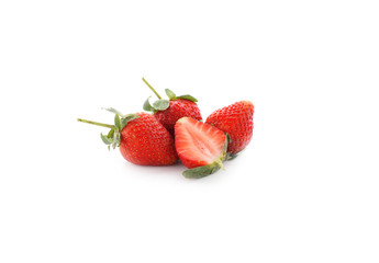 strawberries with leaf on white background