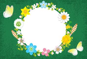 Spring Flower Wreath-Circle Green
