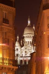 Montmartre, night view of the Sacré Coeur Boulevard Rochechouar