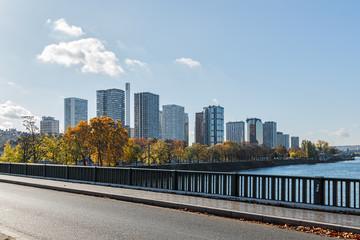 Paris, view from the bridge in the area Javel autumn