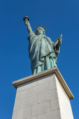Paris, the Statue of Liberty on an island on the River Seine on