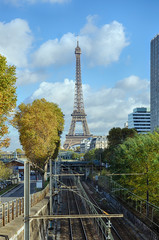 Eiffel Tower in Paris and the railway on a sunny autumn day