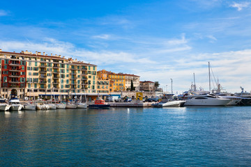 View on Port of Nice and Luxury Yachts, French Riviera
