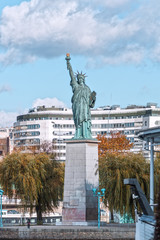 Paris, the Statue of Liberty on an island on the river Seine in