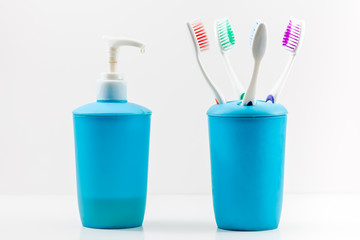 Toothbrushes and soap pump