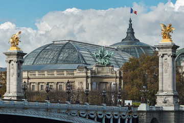 Alexander III bridge and the Grand Palace in Paris
