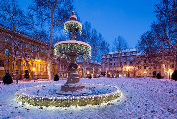 festive decorated park in Zagreb. Croatia.