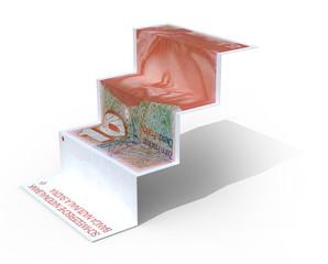 10 swiss franc banknote folded as steps