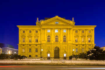 Croatian National Theater in Zagreb in the evening