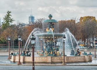 Fountain in Paris at the Place de la Concorde in autumn