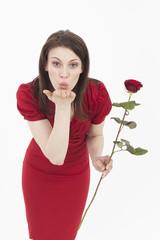 Junge Frau mit roten Rose, Porträt