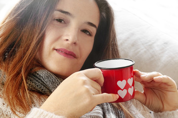 long hair girl with Valentine hearts decorated mug