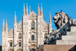 Milan Cathedral with monument of lion