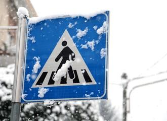 pedestrian crossing sign in mountain village