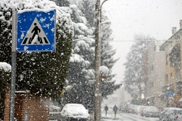 pedestrian crossing sign in mountain village during snowstorm