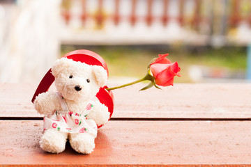 Red heart and teddy bear for love in valentine, vintage style Va