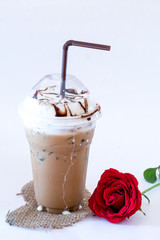 Ice Coffee with red roses on White Background
