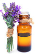 Bottle with lavender oil isolated on white background - 76468563