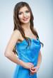 Beautiful young woman blue evening dress portrait.