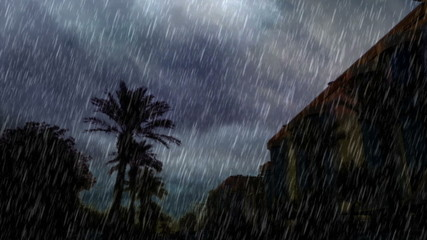 the front of modren mall and heavy rain