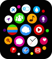 Cloud set of round modern icons.